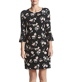 Ruff Hewn GREY Floral Pattern Bell Sleeve Dress