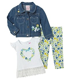 Nannette Baby Girls' Floral Jean Jacket Top And Leggings Set
