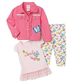 Nannette Baby Girls' 3-Pc. Butterfly Jacket Top And Leggings Set