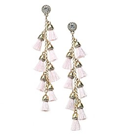Erica Lyons Goldtone Linear Pink Tassel Earrings