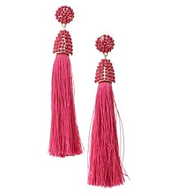 Erica Lyons Goldtone Pink Thread Tassel Earrings