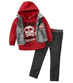 Nannette Boys' 2T-7 3-Piece Long Sleeve Top With Pants And Vest Set