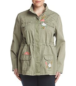 Ruff Hewn Plus Size Floral Embroidered Military Jacket
