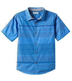 Calvin Klein Jeans Boys' 8-20 Short Sleeve Striped Button Down Shirt