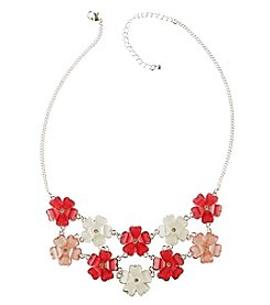 Studio Works Silvertone Pink Flower Necklace