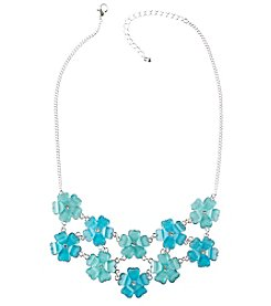 Studio Works Silvertone Aqua Flower Statement Necklace