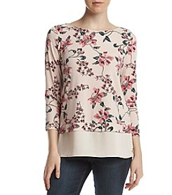 Ivanka Trump Floral Pattern Sheer Hem Top