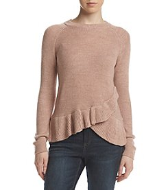 Ivanka Trump Asymmetrical Ruffle Hem Sweater