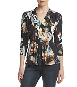 Catherine Malandrino V-Neck Paneled Design Floral Pattern Top