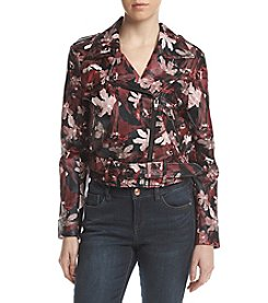 Catherine Malandrino Vegan Leather Floral Pattern Jacket
