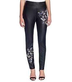 Catherine Malandrino Floral Embroidery Detail Faux Leather Pants