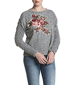 Skylar & Jade by Taylor & Sage Floral Embroidered Cinch Sleeve Top