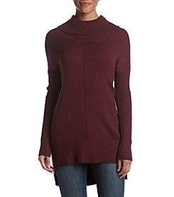 Cable & Gauge Turtleneck High Low Hem Sweater