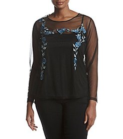 Ruff Hewn Plus Size Floral Embroidery Applique Sheer Top