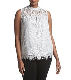 Skylar & Jade by Taylor & Sage Plus Size Lace High-Neck Tank Top