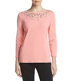 Rafaella Boat Neck Embellished Top