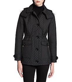 Calvin Klein Waist Seamed Hooded Quilted Coat
