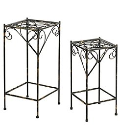 Ore International Set of 2 Celtic Clover Cast-Iron Square Plant Stands