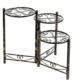 Ore International 3-Tier Heart Clover Round Plant Stand