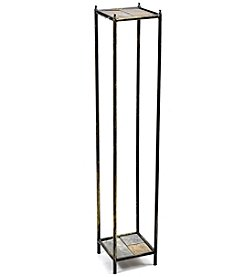 Ore International Large 2-Tier Gray Stone Slab Cast-Iron Plant Stand