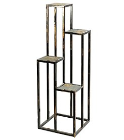 Ore International 4-Tier Gray Stone Slab Cast-Iron Plant Stand