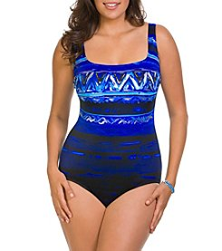 Studio Works Abstract Pattern Strappy Back Tank Swimsuit