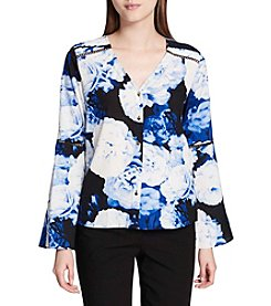 Calvin Klein Floral Print Lace Inset Detail Bell Sleeve Top