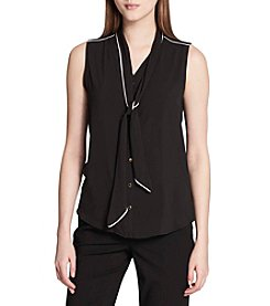 Calvin Klein Tie Neckline Detail Button Up Tank Top