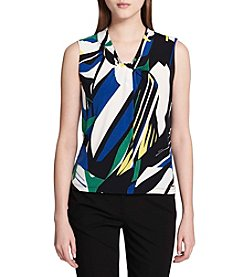 Calvin Klein Abstract Pattern Twist Neckline Top