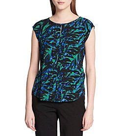 Calvin Klein Paneled Neckline Leaf Pattern Top