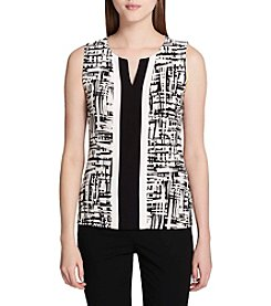 Calvin Klein Split V-Neck Abstract Pattern Tank Top