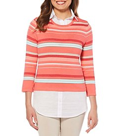 Rafaella Vertical Striped Shirt Underlay Sweater