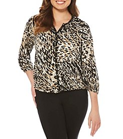 Rafaella Striped Animal Print Top
