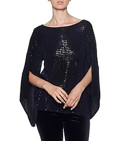 Joan Vass Glitter Sequin Detail Bell Sleeve Top