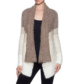 Joan Vass Colorblocked Design Fuzzy Cardigan