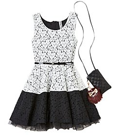 Beautees Girls' 7-16 Belted Lace Dress With Purse