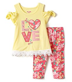 Nannette Girls' 2T-6X Love Tunic And Floral Leggings Set