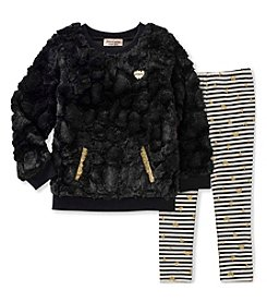 Juicy Couture Girls' 12 Months- 6X Faux Fur Tunic and Leggings Set