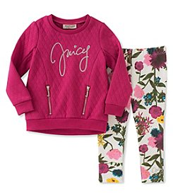 Juicy Couture Girls' 2T-6X Quilted Top and Floral Leggings Set