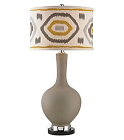 Dimond Matte Grey Table Lamp with Patterned Shade