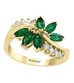 Effy Brasilica Collection 14K Gold Emerald and .20 ct. T.W. Diamond Ring