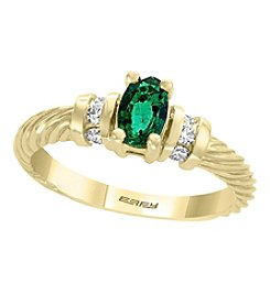 Effy® Brasilica Collection 14K Gold Emerald and .015 ct. T.W. Diamond Ring