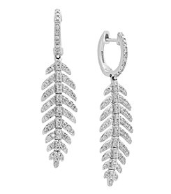 Effy Pavé Classica Collection 14K White Gold .89 ct. T.W. Diamond Leaf Earrings