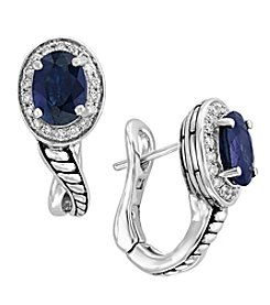 Effy® Royale Bleu Collection Sterling Silver Sapphire And .18 Ct. T.W. Diamond Earrings