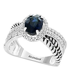 Effy® Royale Bleu Collection Sterling Silver Sapphire And .39 Ct. T.W. Diamond Ring