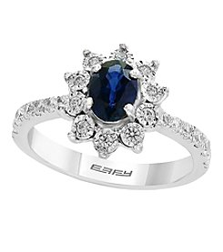 Effy® Royale Blue Collection 14K White Gold Sapphire And .47 Ct. T.W. Diamond Ring