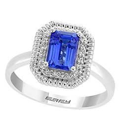Effy® 14K White Gold Tanzanite and .08 Ct. T.W. Diamond Ring