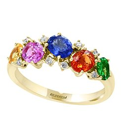 Effy® 14K Gold Multi Color Sapphires and Tsavorite Ring