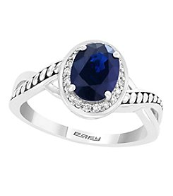 Effy® Royale Bleu Collection Sterling Silver Sapphire and Diamond Ring