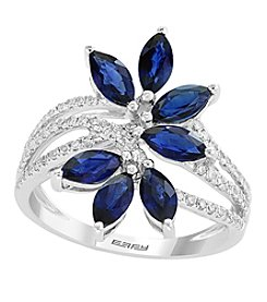 Effy® Royale Bleu Collection 14K White Gold Sapphire And .30 Ct. T.W. Diamond Ring
